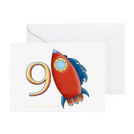 Boy's Rocket 9th Birthday Invitation Cards 10pk