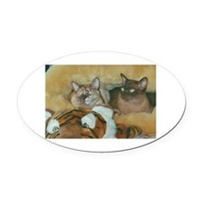 Burmese Cats Oval Car Magnet