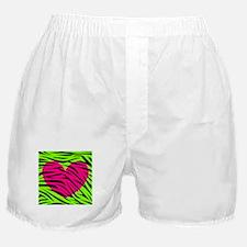 Hot Pink Green Zebra Striped Heart Boxer Shorts