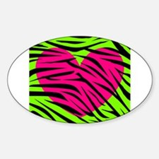 Hot Pink Green Zebra Striped Heart Decal
