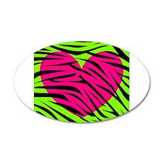 Hot Pink Green Zebra Striped Heart Wall Decal