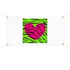 Hot Pink Green Zebra Striped Heart Banner