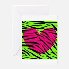 Hot Pink Green Zebra Striped Heart Greeting Cards