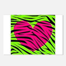 Hot Pink Green Zebra Striped Heart Postcards (Pack