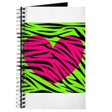 Hot Pink Green Zebra Striped Heart Journal