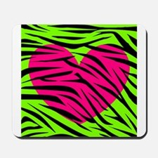 Hot Pink Green Zebra Striped Heart Mousepad