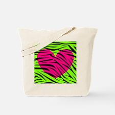 Hot Pink Green Zebra Striped Heart Tote Bag
