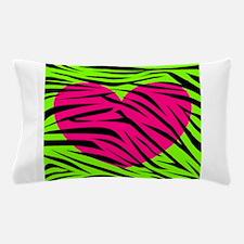 Hot Pink Green Zebra Striped Heart Pillow Case