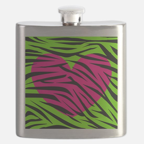 Hot Pink Green Zebra Striped Heart Flask