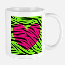 Hot Pink Green Zebra Striped Heart Mugs