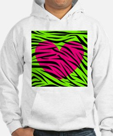 Hot Pink Green Zebra Striped Heart Hoodie