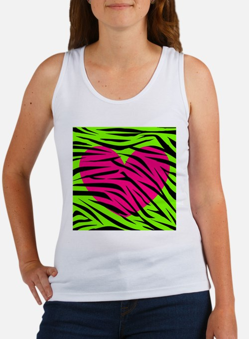 Hot Pink Green Zebra Striped Heart Tank Top