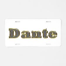 Dante Gold Diamond Bling Aluminum License Plate
