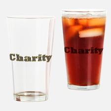 Charity Gold Diamond Bling Drinking Glass