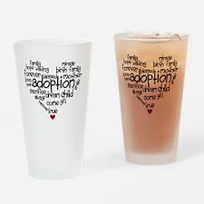 Adoption words heart Drinking Glass
