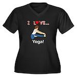 I Love Yoga Women's Plus Size V-Neck Dark T-Shirt
