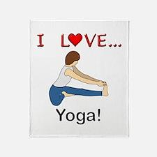 I Love Yoga Throw Blanket