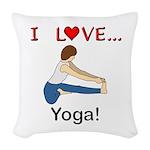 I Love Yoga Woven Throw Pillow