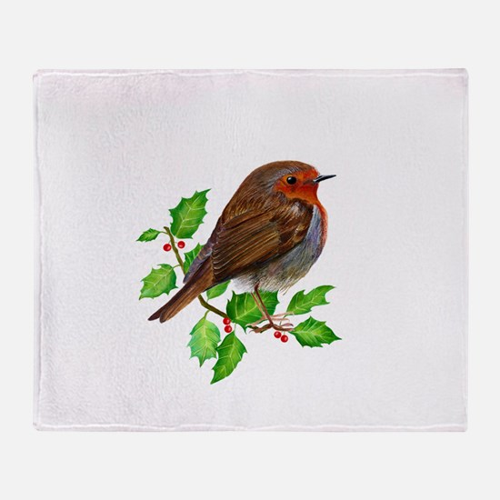 Robin Bird, Robin Redbreast, Painting Throw Blanke