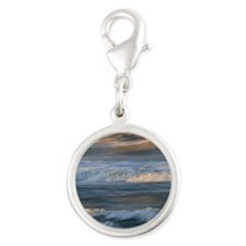 Surf Wave Motion Silver Round Charm