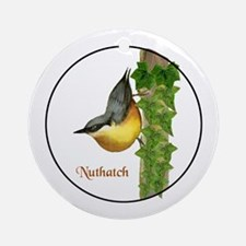 Nuthatch Bird Painting Ornament (Round)