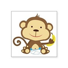 "Monkey Square Sticker 3"" x 3"""