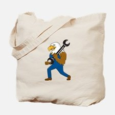 American Bald Eagle Mechanic Wrench Cartoon Tote B