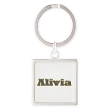Alivia Gold Diamond Bling Square Keychain