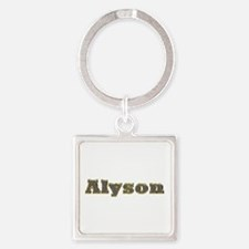 Alyson Gold Diamond Bling Square Keychain