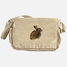 Baby Rabbit Portrait in Pastels Messenger Bag