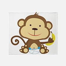 Little Boy Monkey with banana Throw Blanket