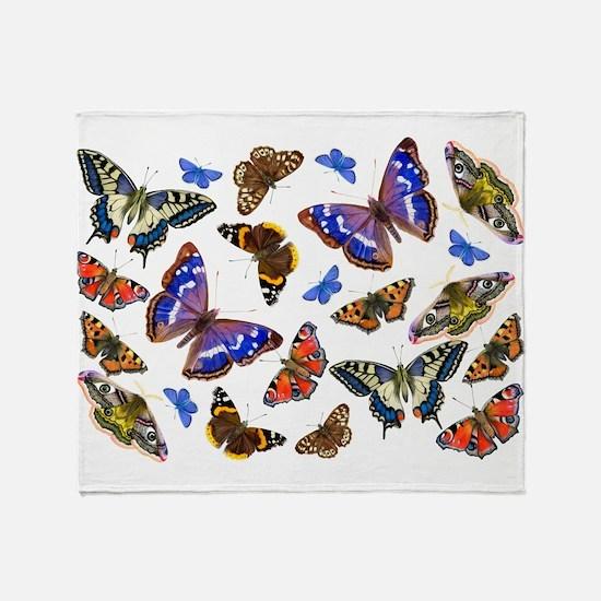 Butterflies and Moths Watercolours Throw Blanket