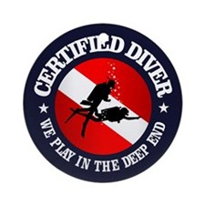 Certified Diver (Deep End) Ornament (Round)