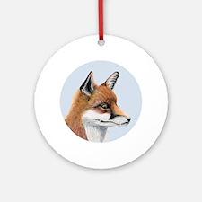 Red Fox Portrait Watercolour Ornament (Round)