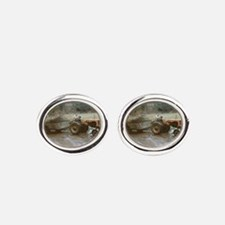 Riding a Tractor Oval Cufflinks
