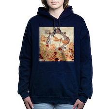 Soft orange floral Women's Hooded Sweatshirt