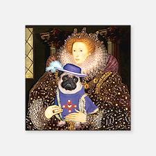 "Queen-Sir Pug (17) Square Sticker 3"" x 3"""