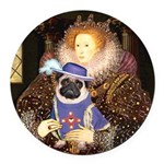 Queen-Sir Pug (17) Round Car Magnet