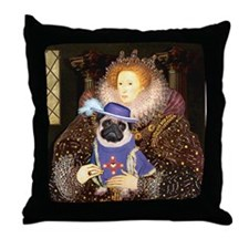 Queen-Sir Pug (17) Throw Pillow
