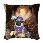 Queen-Sir Pug (17) Woven Throw Pillow