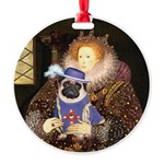 Queen-Sir Pug (17) Round Ornament