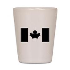 Canadian Flag: Black I Shot Glass