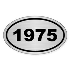 1975 Steel Grey Oval Vinyl Stickers