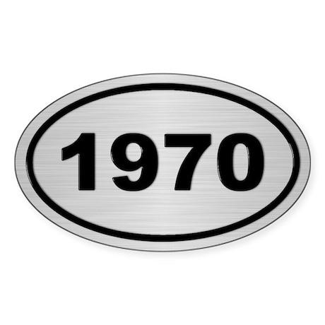 1970 Steel Grey Oval Vinyl Sticker