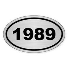 1989 Steel Grey Oval Vinyl Stickers