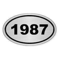 1987 Steel Grey Oval Vinyl Decal