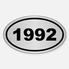 1992 Steel Grey Oval Vinyl Stickers