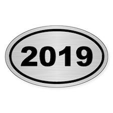 2019 Steel Grey Oval Vinyl Decal