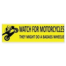 Watch For Motorcycles (Yellow) Bumper Bumper Sticker