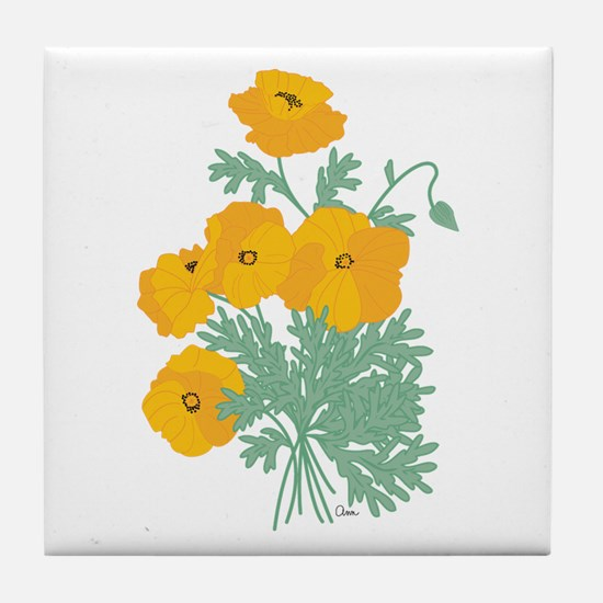 poppies.png Tile Coaster